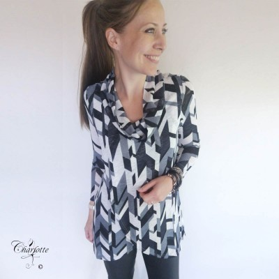 Grey Print Tunic - Sara Louise